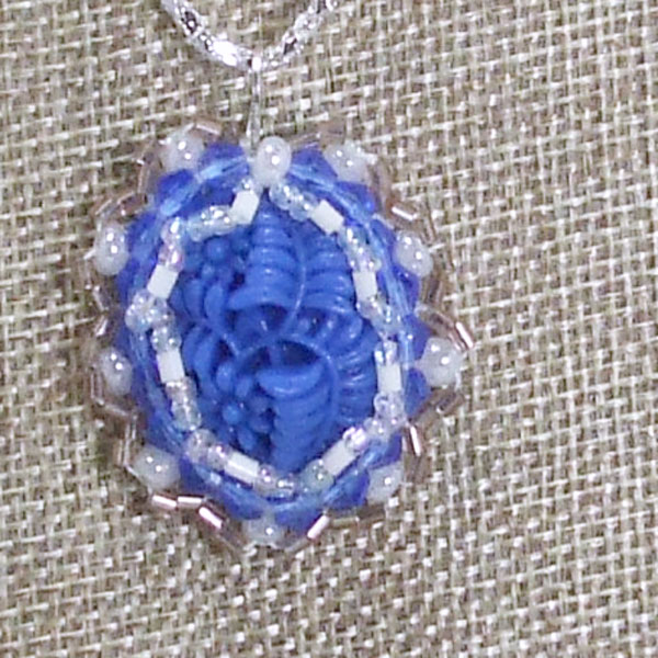 Tailer Bead Embroidery Cabochon Pendant Necklace blow up view