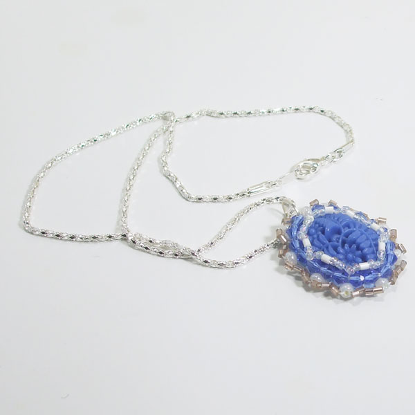 Tailer Bead Embroidery Cabochon Pendant Necklace flat view