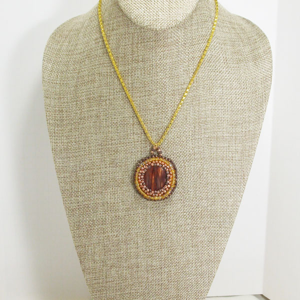 Valle Bead Embroidery Cabochon Pendant Necklace relevant front view