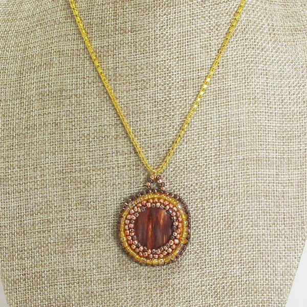 Valle Bead Embroidery Cabochon Pendant Necklace close up view