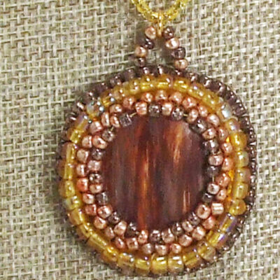 Valle Bead Embroidery Cabochon Pendant Necklace blow up view