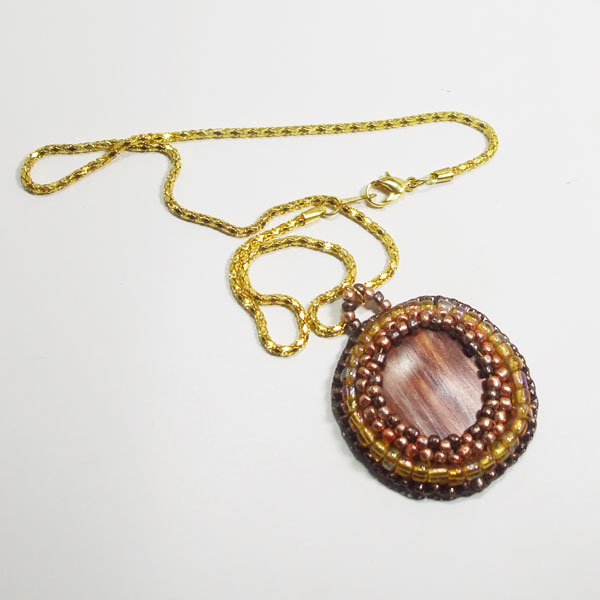 Valle Bead Embroidery Cabochon Pendant Necklace flat view