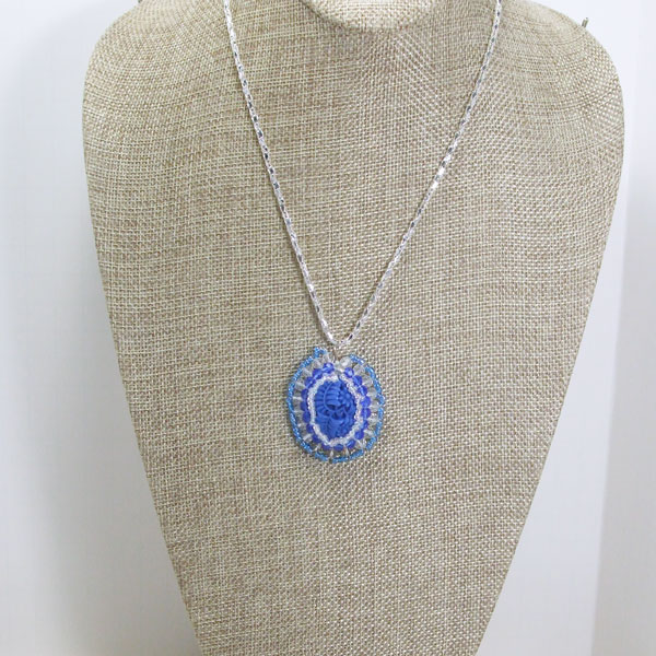 Wauna Bead Embroidery Cabochon Pendant Necklace relevant view