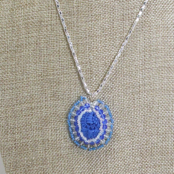 Wauna Bead Embroidery Cabochon Pendant Necklace close up view