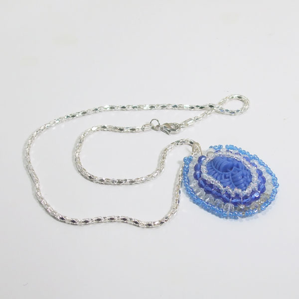 Wauna Bead Embroidery Cabochon Pendant Necklace flat view