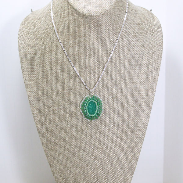Xima Bead Embroidery Cabochon Pendant Necklace relevant front view