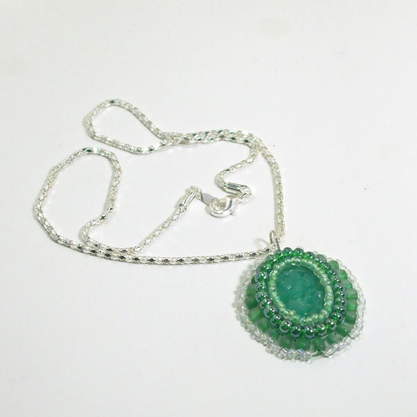 Xima Bead Embroidery Cabochon Pendant Necklace flat view