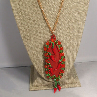 Laka Bead Embroidery Pendant Necklace front close up view