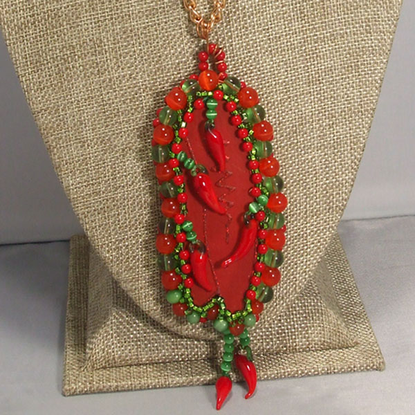 Laka Bead Embroidery Pendant Necklace front bugs view