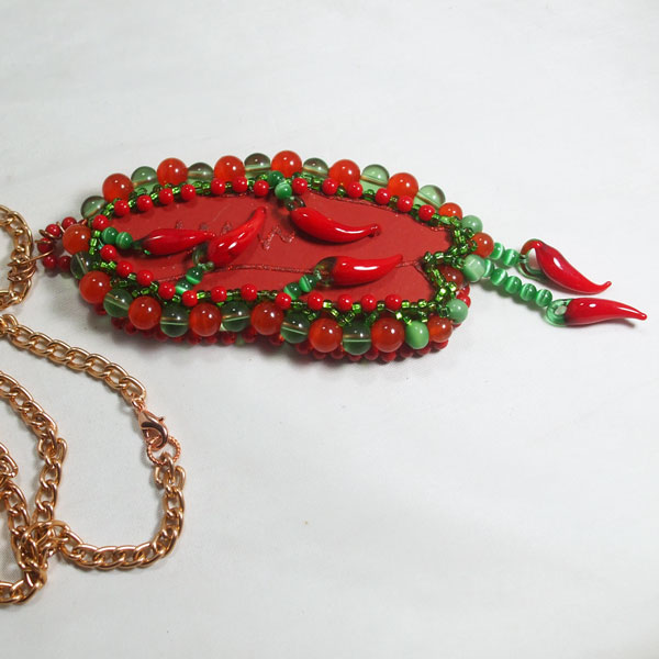Laka Bead Embroidery Pendant Necklace flat view