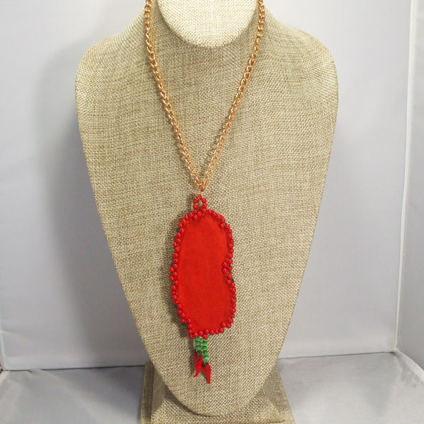 Laka Bead Embroidery Pendant Necklace back relevant view