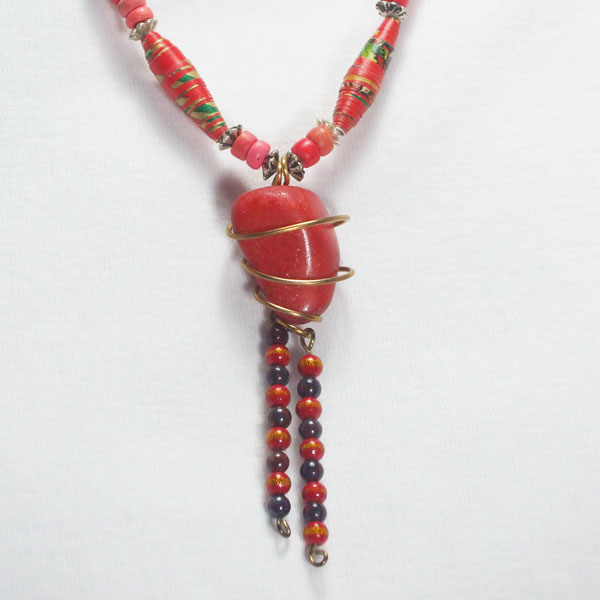 Safia Wire Design Beaded Jewelry Necklace back view