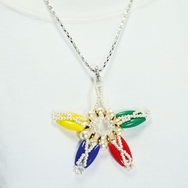 Xarina Beaded OES Star Pendant Necklace relevant front view