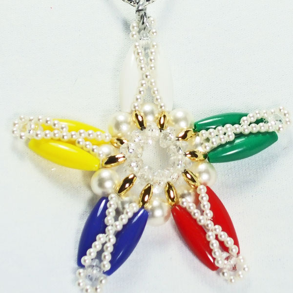 Xarina Beaded OES Star Pendant Necklace blow up view