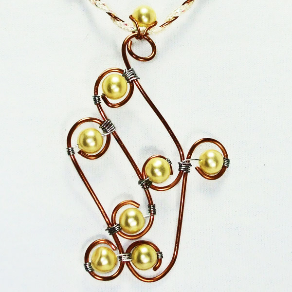 Dallis Copper & Pearls Costume Necklace blow up view