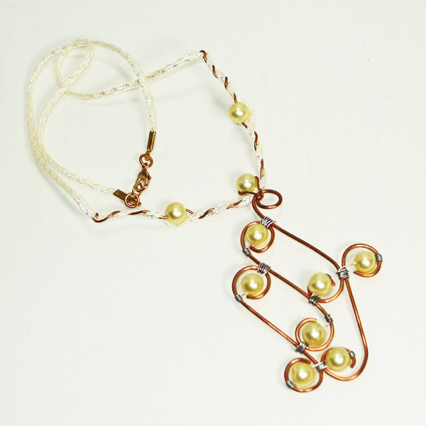 Dallis Copper & Pearls Costume Necklace flat view