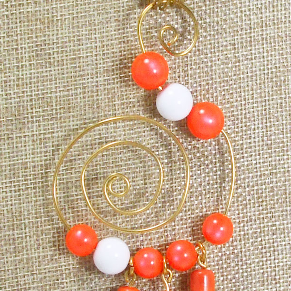 Wava Wire Design Beaded Pendant Necklace pin up view