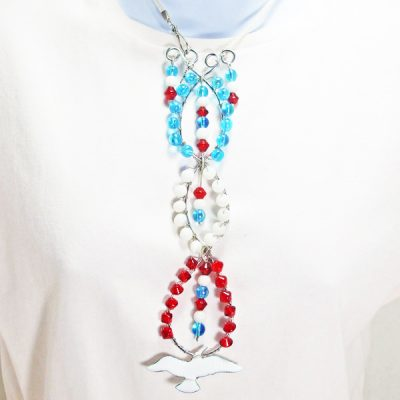 Taipa Wire Design Beaded Jewelry Pendant Necklace relevant front view