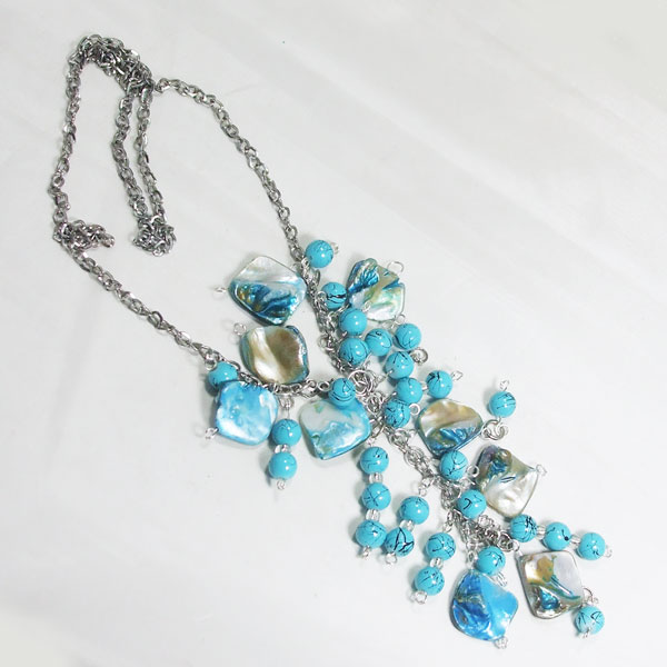 Sacnite Beaded Pendant Dangle Necklace flat view