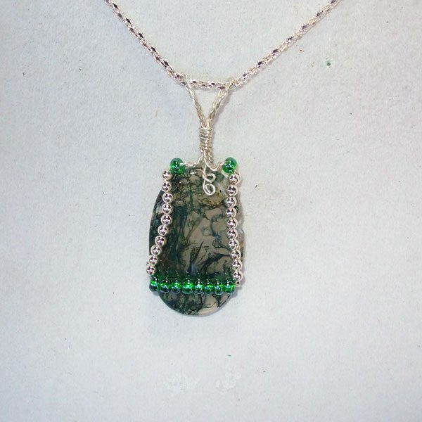 Moss Agate Mineral Cabochon Pendant Relevent view
