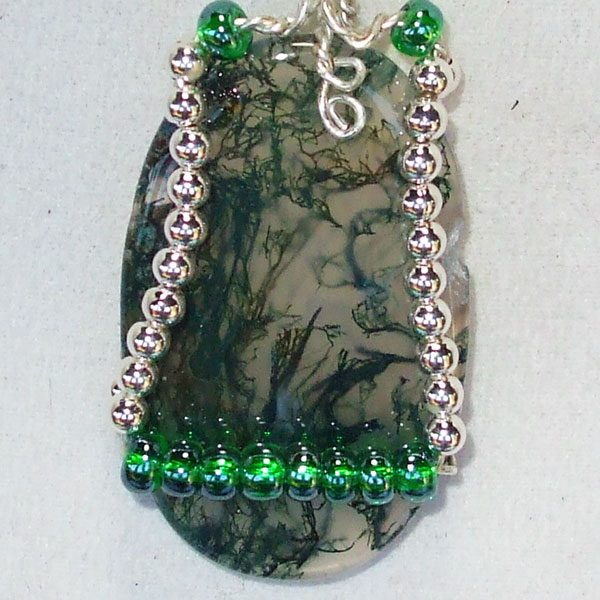 Moss Agate Mineral Cabochon Pendant Front view