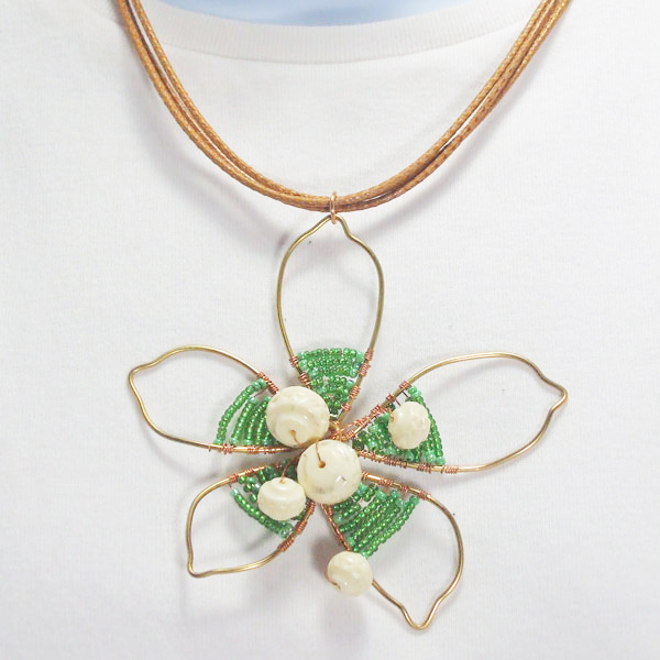 Pana Wire Design Beaded Jewelry Pendant Necklace close up view