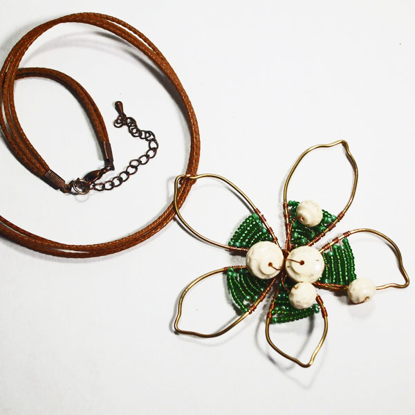 Pana Wire Design Beaded Jewelry Pendant Necklace flat view