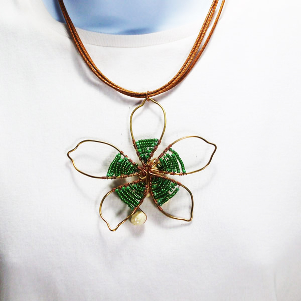 Pana Wire Design Beaded Jewelry Pendant Necklace back view