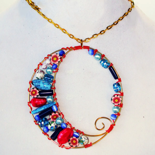 Xarika Wire Design Beaded Pendant Necklace pin up view