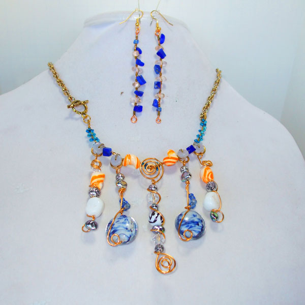 Abrielle Blue Beaded Necklace front view