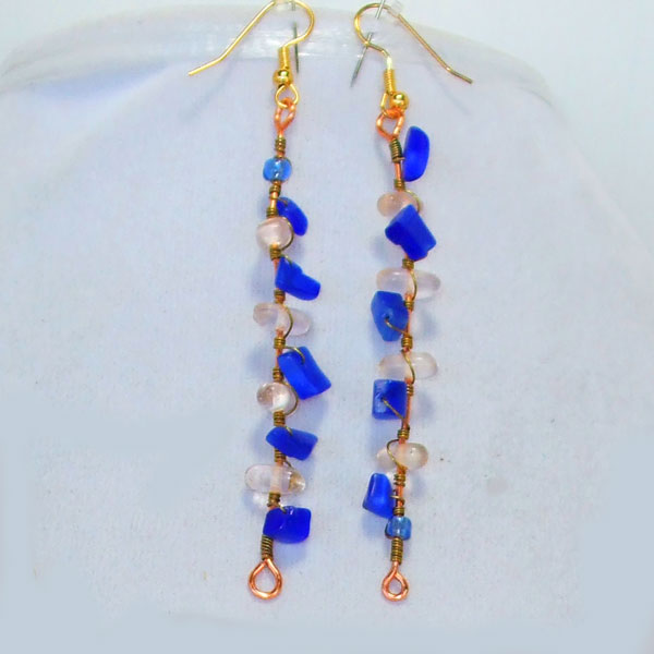 Abrielle Blue Beaded Necklace earrings