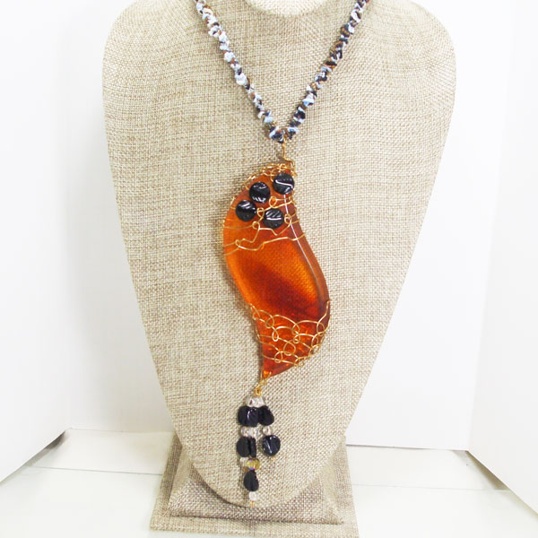 Daina Beaded Bib Jewelry Necklace relevant front view