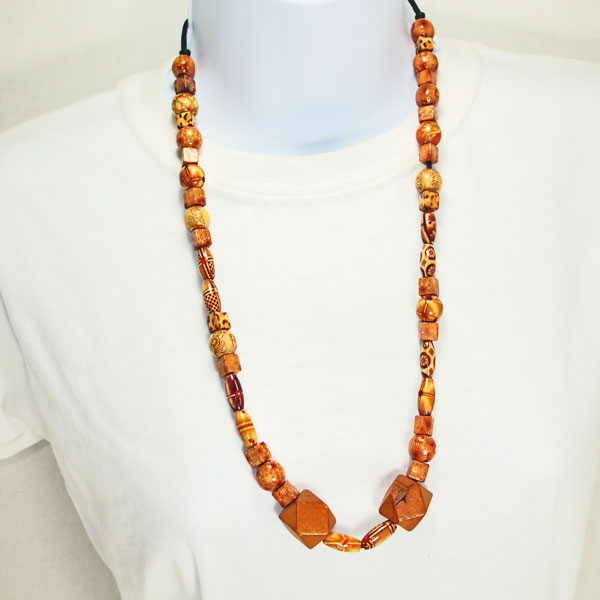 Galilea Teak Wood Costume Jewelry Necklace relevant front view