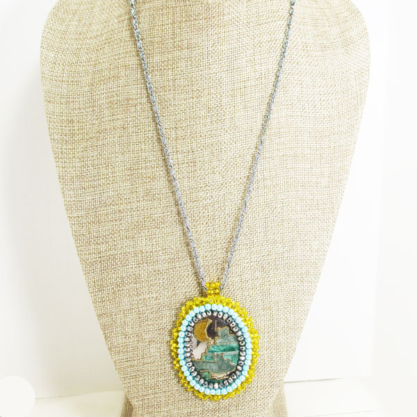 Zalika Bead Embroidery Cabochon Pendant Necklace relevant front view
