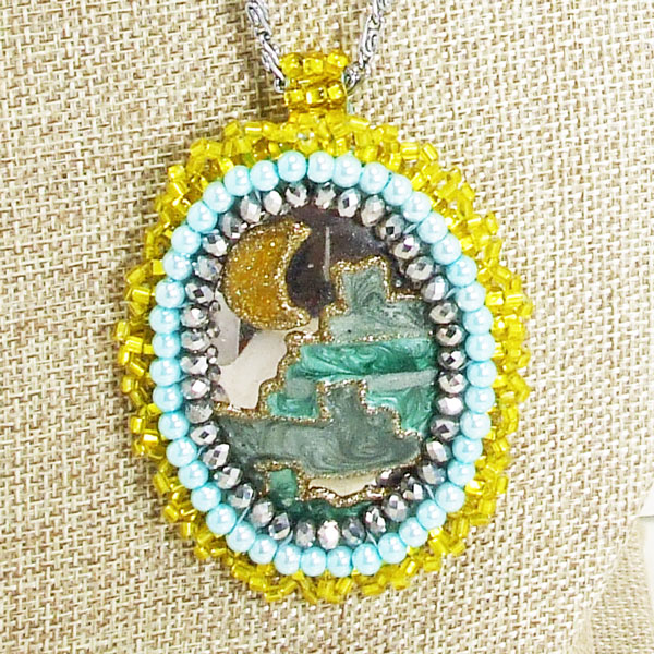 Zalika Bead Embroidery Cabochon Pendant Necklace blow up view