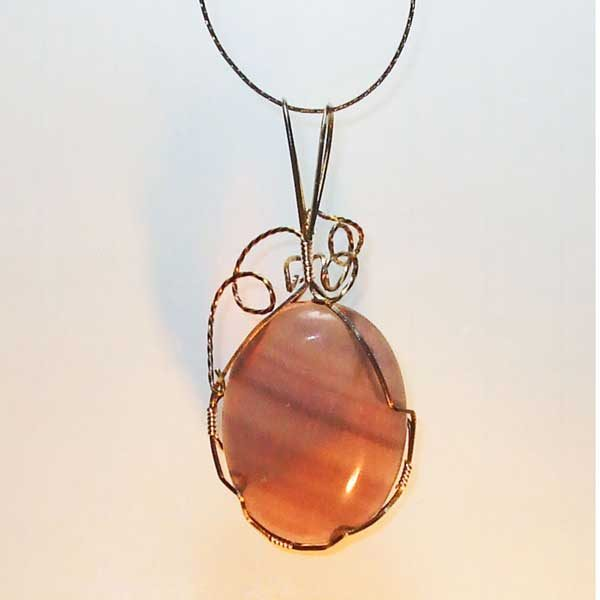 Fluorite Mineral Pendant front view