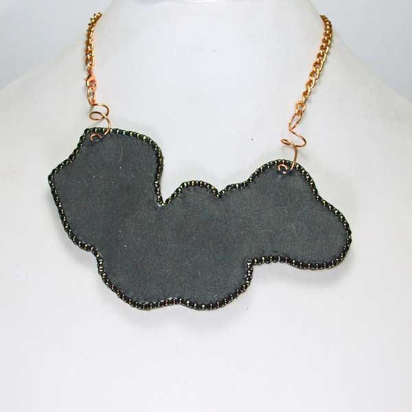 Western triplet Bead Embroidery Pendant Necklace back view