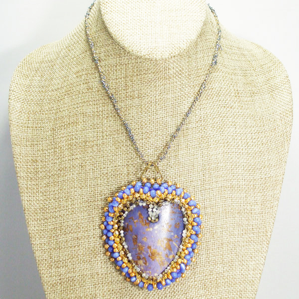 Raelene Bead Embroidery Pendant Necklace front relevant view