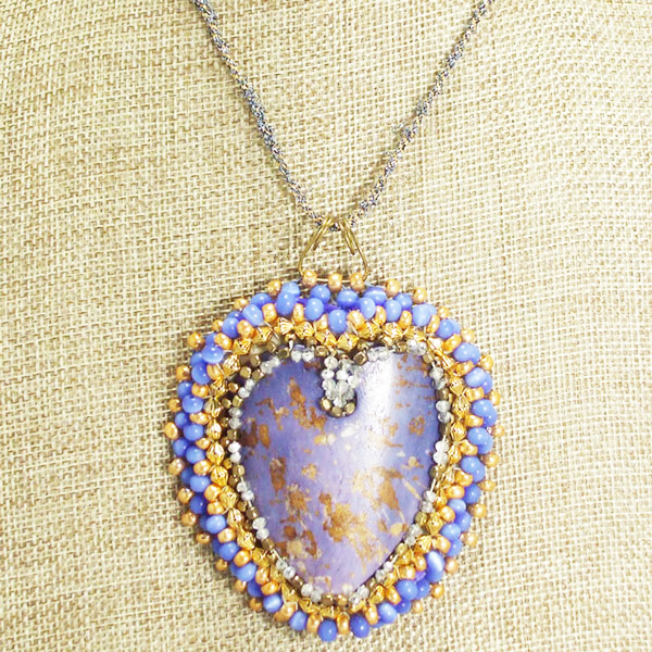Raelene Bead Embroidery Pendant Necklace front close up view
