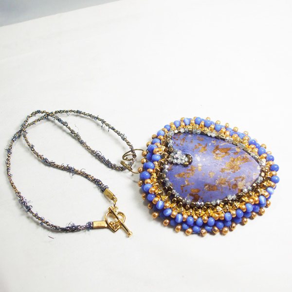 Raelene Bead Embroidery Pendant Necklace flat view