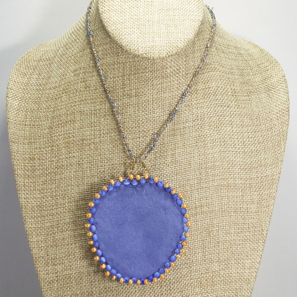 Raelene Bead Embroidery Pendant Necklace back relevant view