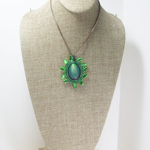 Edelmire Bead Embroidery Jewelry Pendant relevant front view