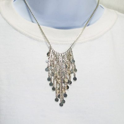 Haldana Silver Dangles Costume Jewelry Necklace relevant front view