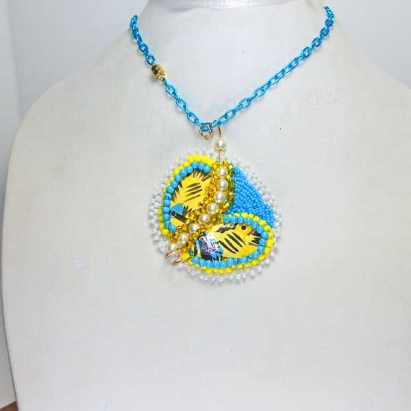 Bead Embroidery Butterfly Necklace front view