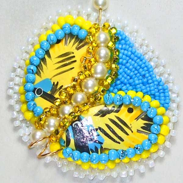Bead Embroidery Butterfly Necklace bugs eye view