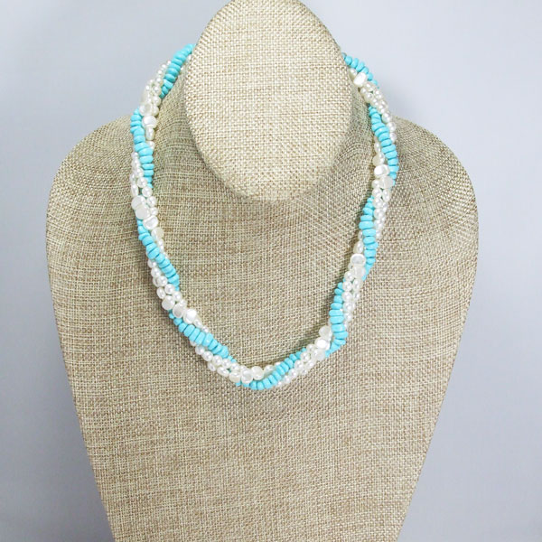 Jaela Triple Strand Beaded Jewelry Necklace relevant front view