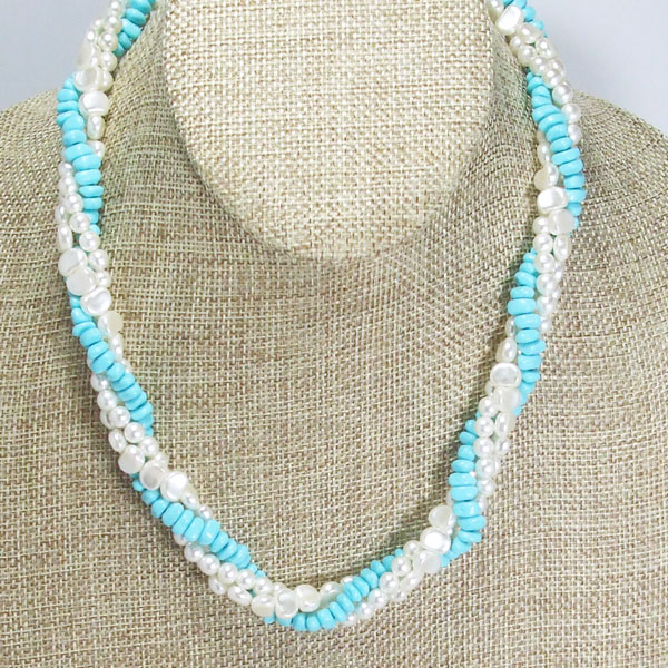 Jaela Triple Strand Beaded Jewelry Necklace front front close up view