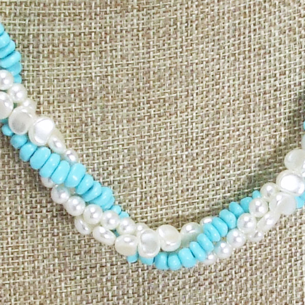 Jaela Triple Strand Beaded Jewelry Necklace front blow up view