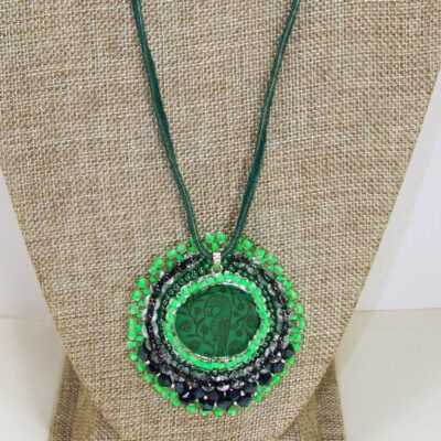 Tabetha Beaded Bead Embroidery Pendant Necklace close up view