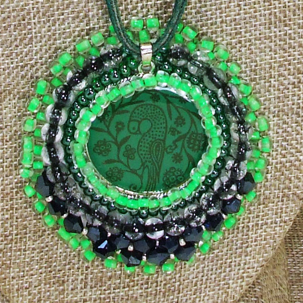 Tabetha Beaded Bead Embroidery Pendant Necklace blow up view